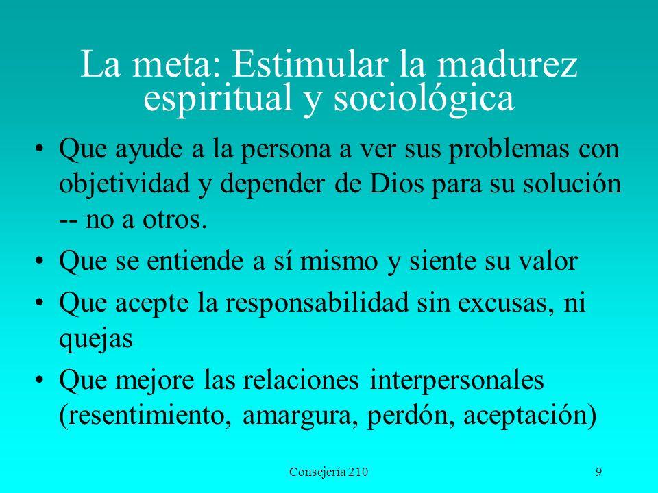 La meta: Estimular la madurez espiritual y sociológica