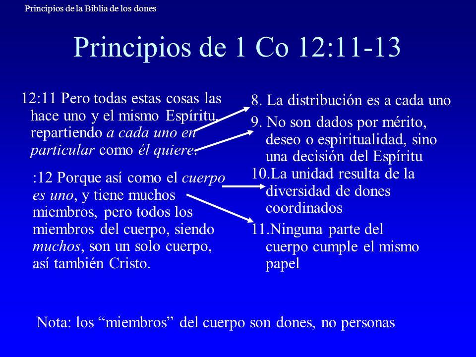 Principios de 1 Co 12:11-1312:11 Pero todas estas cosas las hace uno y el mismo Espíritu, repartiendo a cada uno en particular como él quiere.