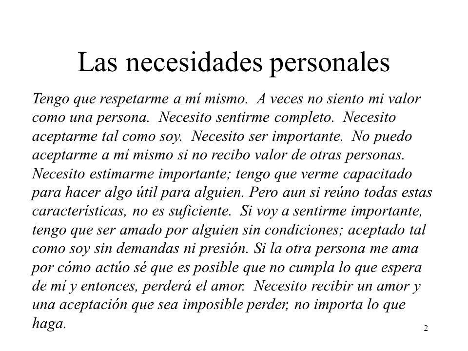 Las necesidades personales