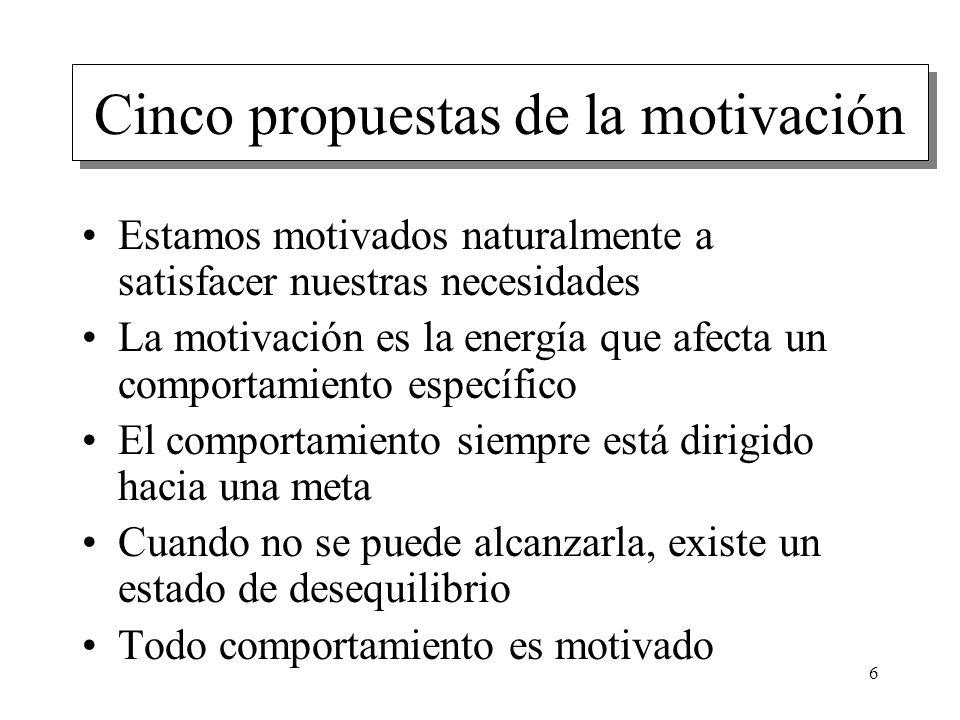 Cinco propuestas de la motivación