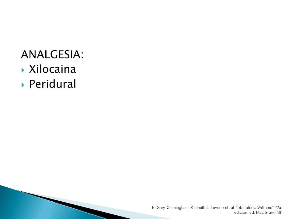 ANALGESIA: Xilocaina Peridural