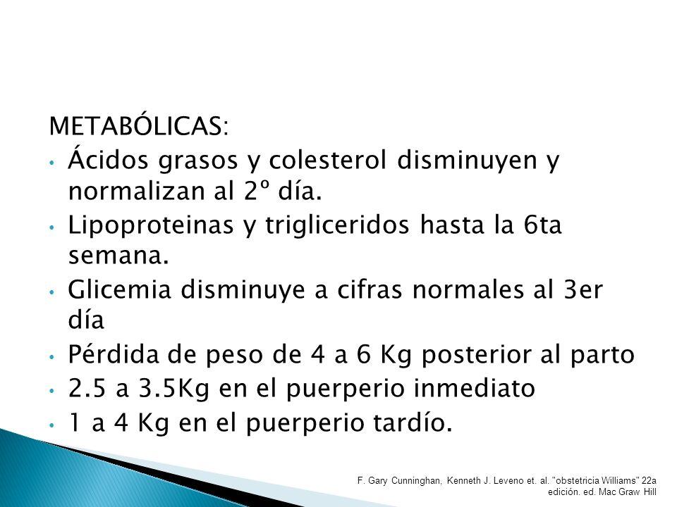 Ácidos grasos y colesterol disminuyen y normalizan al 2º día.