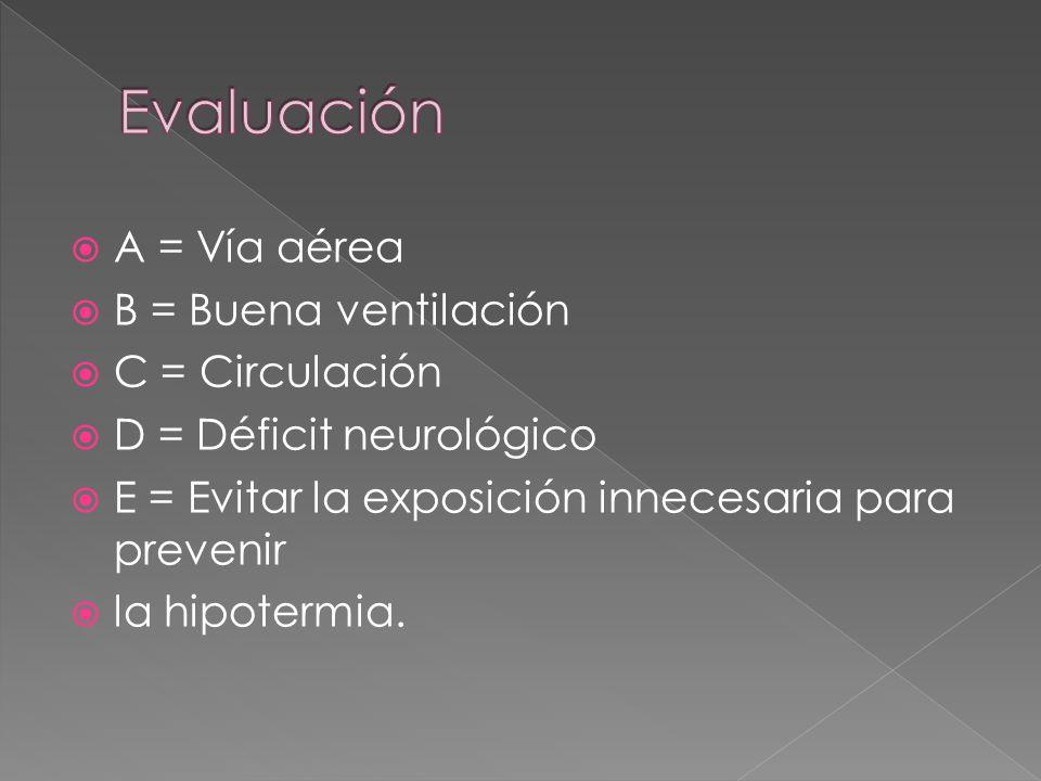 Evaluación A = Vía aérea B = Buena ventilación C = Circulación