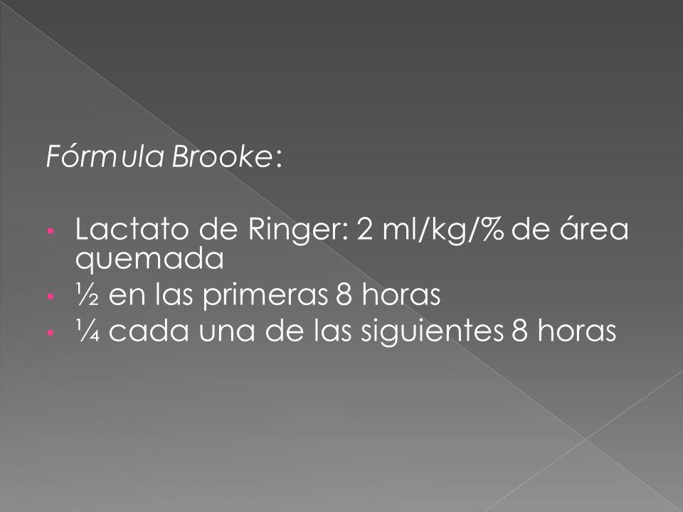 Fórmula Brooke:Lactato de Ringer: 2 ml/kg/% de área quemada.