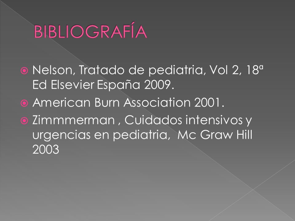BIBLIOGRAFÍA Nelson, Tratado de pediatria, Vol 2, 18ª Ed Elsevier España 2009. American Burn Association 2001.