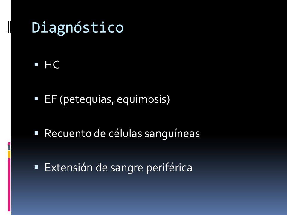 Diagnóstico HC EF (petequias, equimosis)