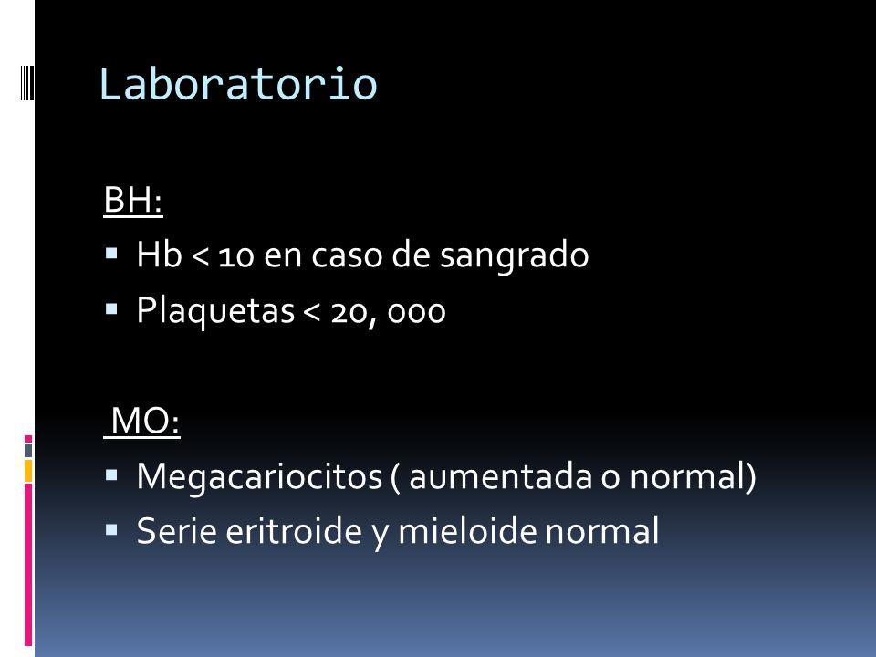 Laboratorio BH: Hb < 10 en caso de sangrado Plaquetas < 20, 000