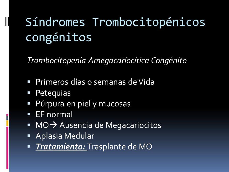 Síndromes Trombocitopénicos congénitos