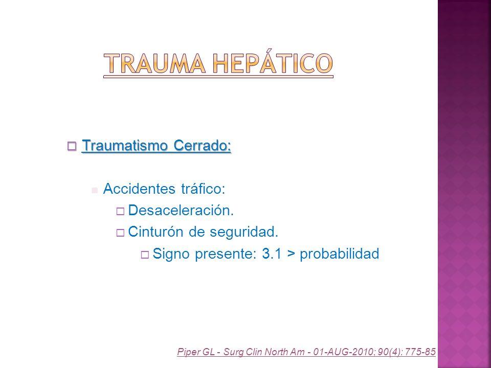 Trauma Hepático Traumatismo Cerrado: Accidentes tráfico: