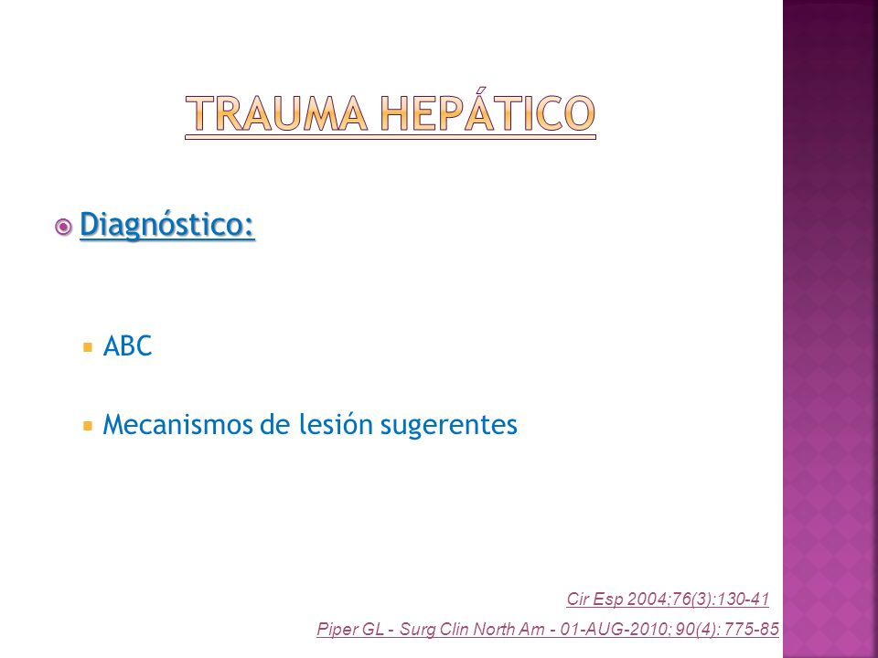 Trauma Hepático Diagnóstico: ABC Mecanismos de lesión sugerentes