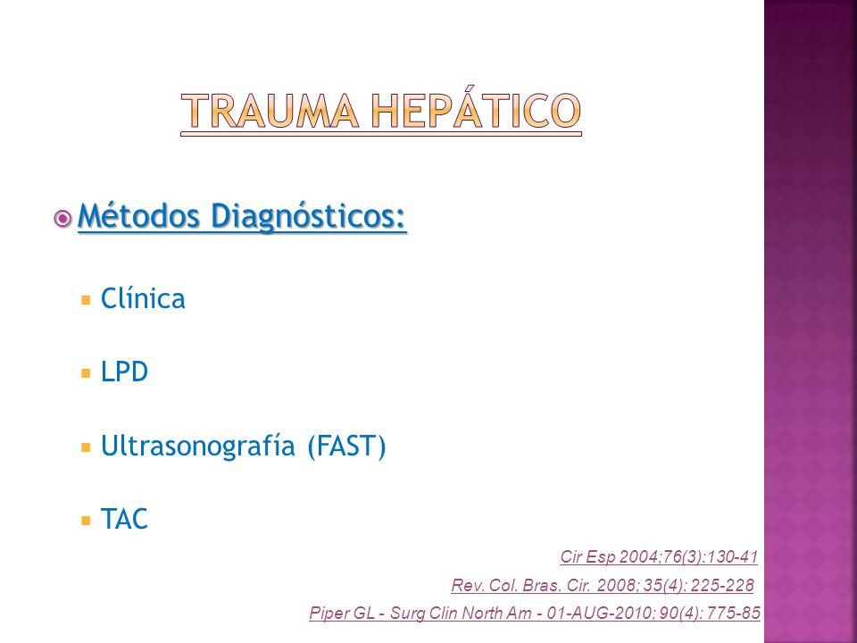 Trauma Hepático Métodos Diagnósticos: Clínica LPD