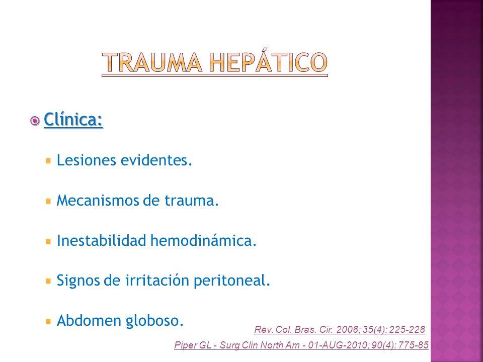 Trauma Hepático Clínica: Lesiones evidentes. Mecanismos de trauma.