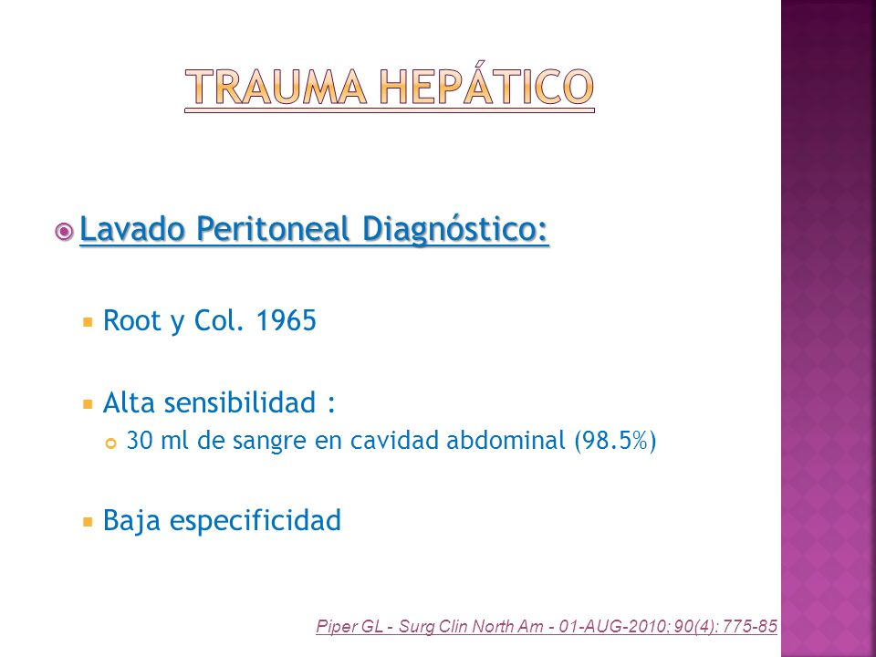 Trauma Hepático Lavado Peritoneal Diagnóstico: Root y Col. 1965