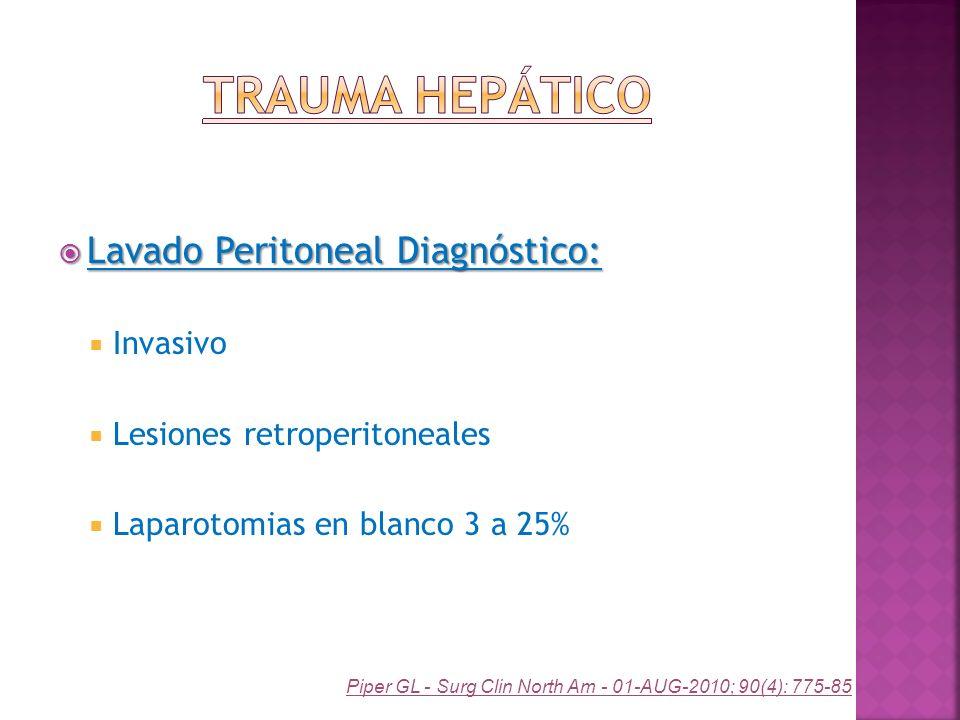 Trauma Hepático Lavado Peritoneal Diagnóstico: Invasivo