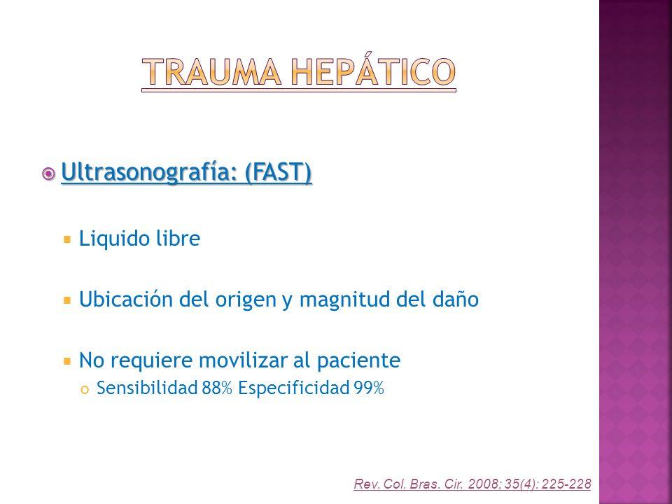Trauma Hepático Ultrasonografía: (FAST) Liquido libre