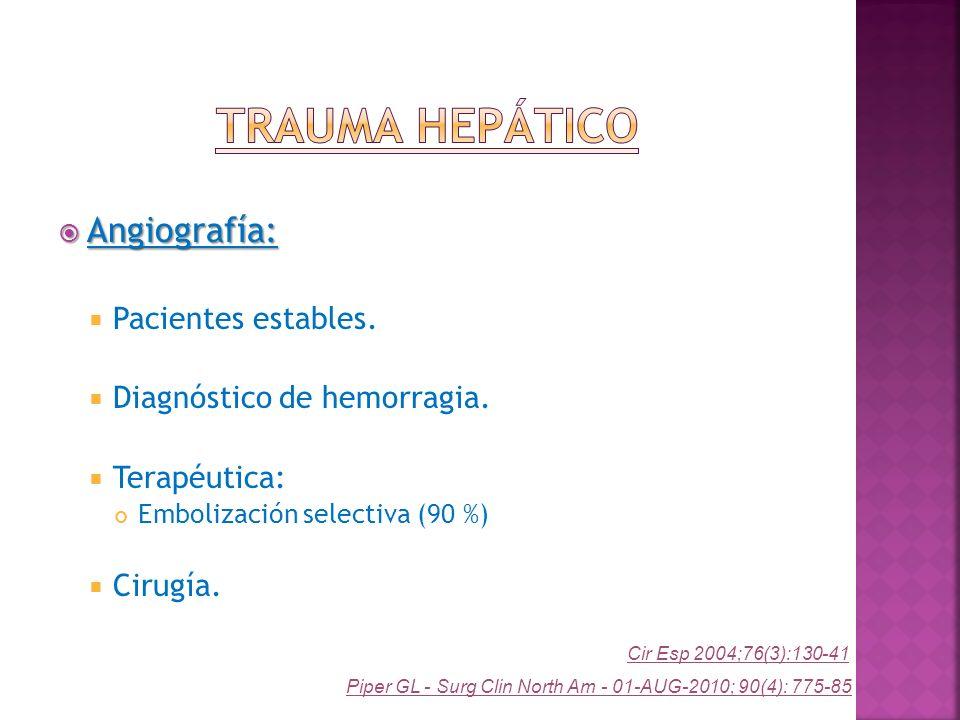 Trauma Hepático Angiografía: Pacientes estables.
