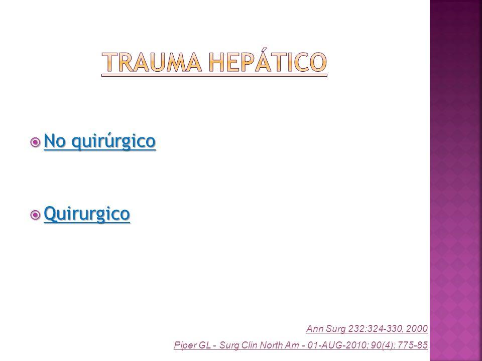 Trauma Hepático No quirúrgico Quirurgico Ann Surg 232:324-330, 2000