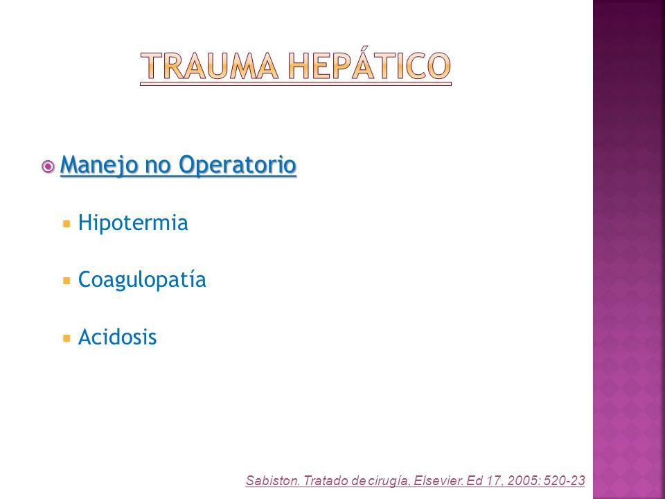 Trauma Hepático Manejo no Operatorio Hipotermia Coagulopatía Acidosis
