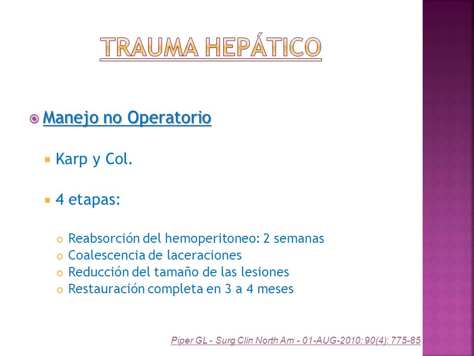 Trauma Hepático Manejo no Operatorio Karp y Col. 4 etapas: