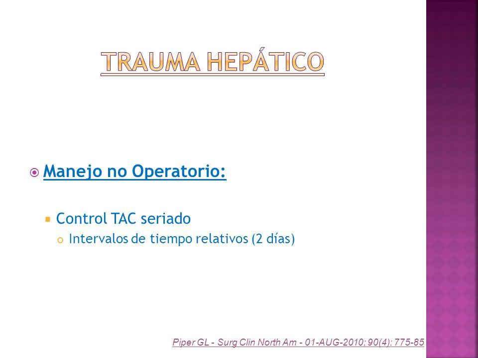 Trauma Hepático Manejo no Operatorio: Control TAC seriado