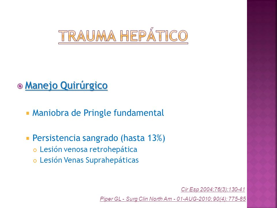 Trauma Hepático Manejo Quirúrgico Maniobra de Pringle fundamental