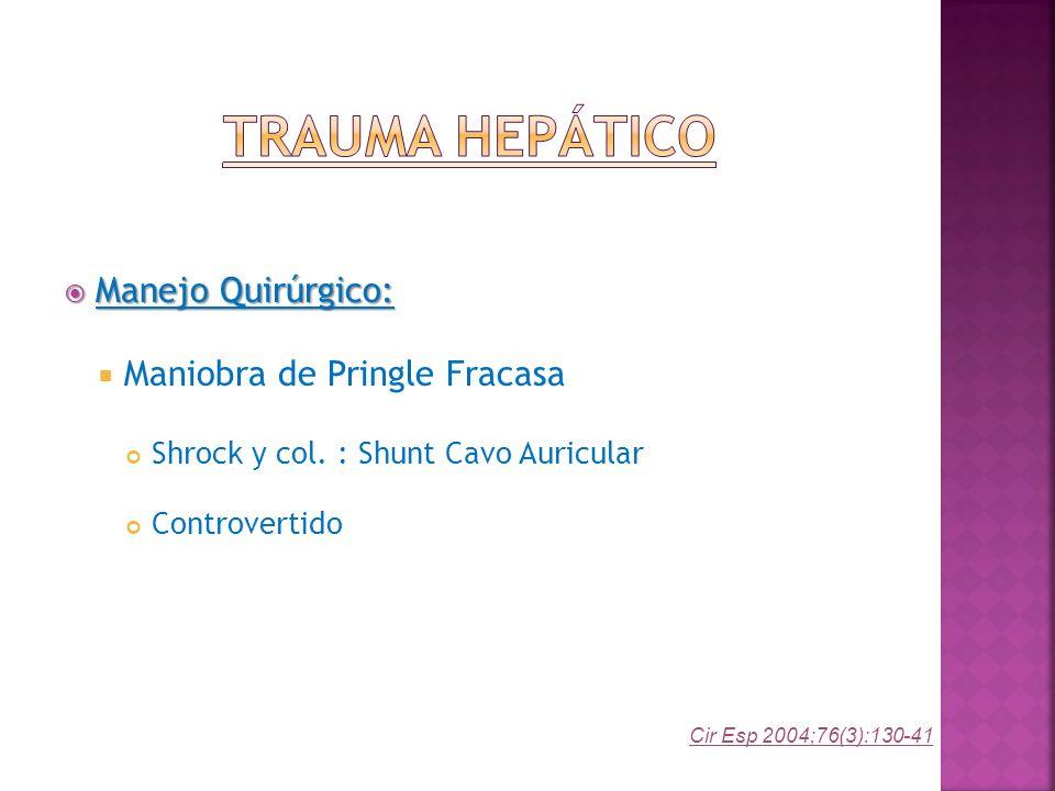 Trauma Hepático Manejo Quirúrgico: Maniobra de Pringle Fracasa