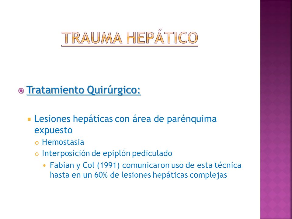 Trauma Hepático Tratamiento Quirúrgico: