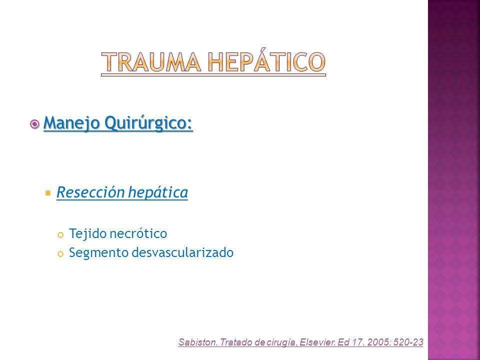 Trauma Hepático Manejo Quirúrgico: Resección hepática Tejido necrótico