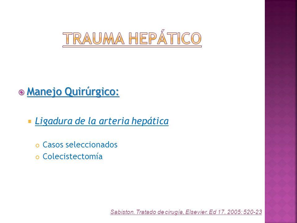 Trauma Hepático Manejo Quirúrgico: Ligadura de la arteria hepática