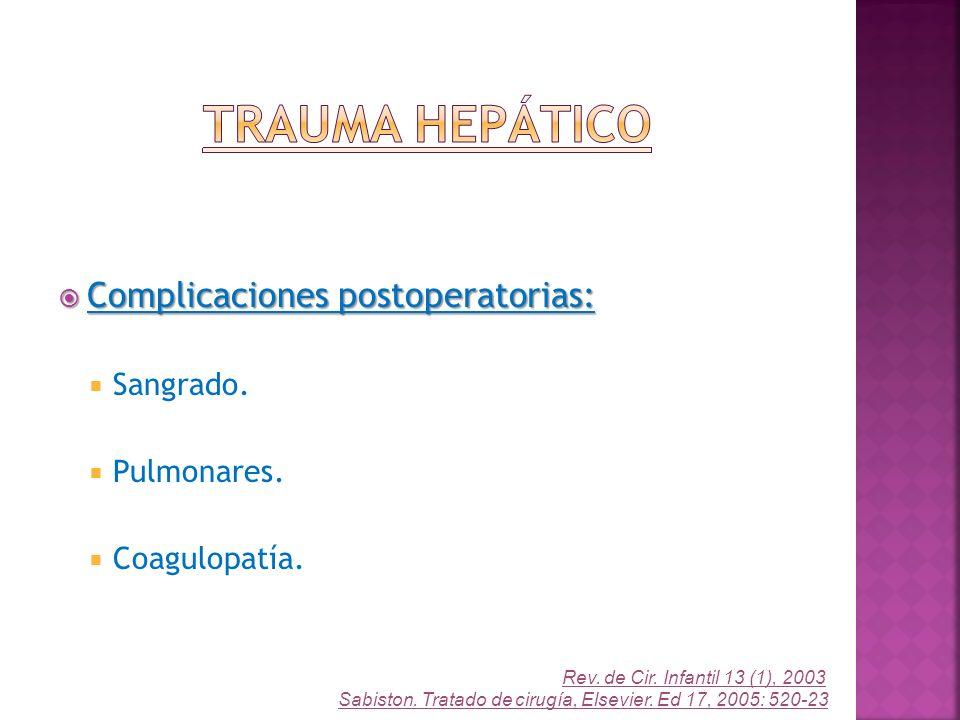 Trauma Hepático Complicaciones postoperatorias: Sangrado. Pulmonares.