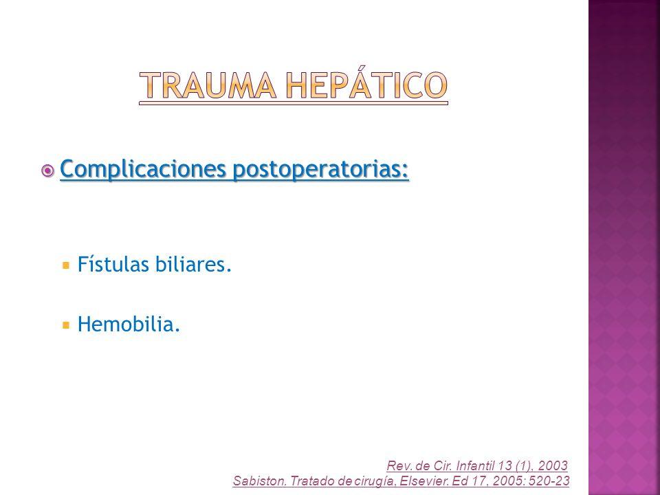 Trauma Hepático Complicaciones postoperatorias: Fístulas biliares.