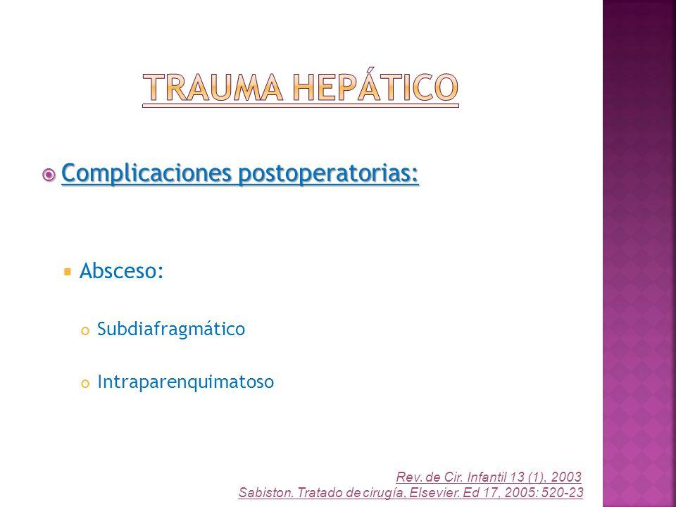 Trauma Hepático Complicaciones postoperatorias: Absceso: