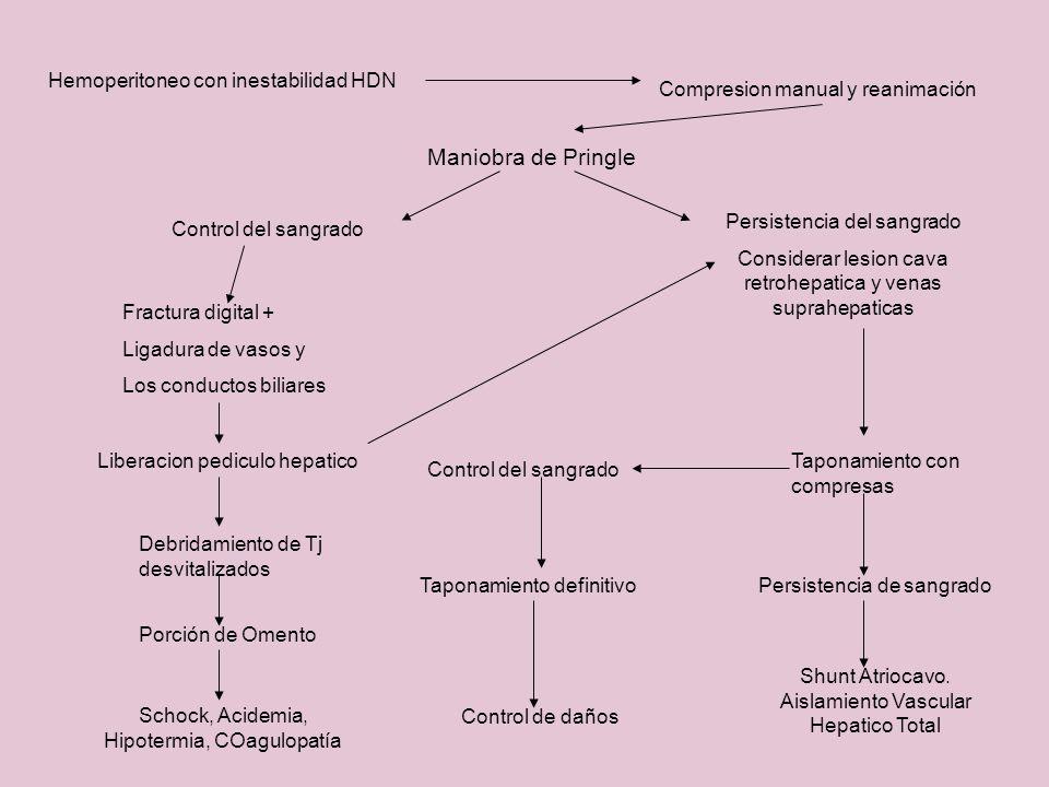 Maniobra de Pringle Hemoperitoneo con inestabilidad HDN