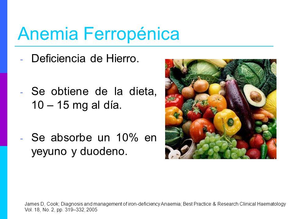 Anemia Ferropénica Deficiencia de Hierro.