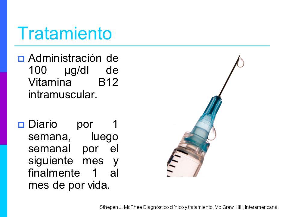 Tratamiento Administración de 100 μg/dl de Vitamina B12 intramuscular.