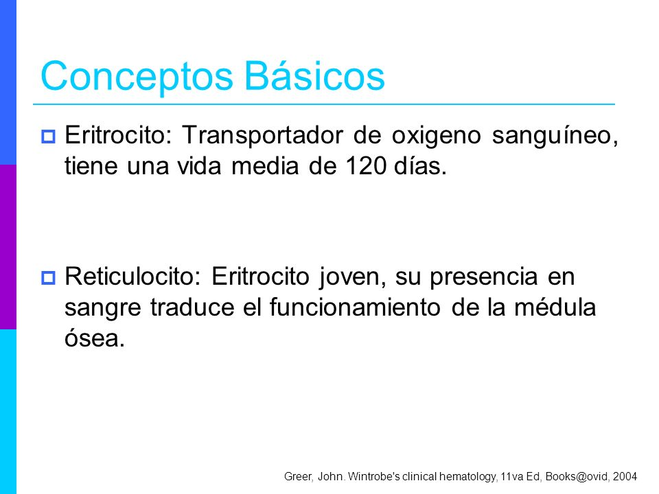 Conceptos Básicos Eritrocito: Transportador de oxigeno sanguíneo, tiene una vida media de 120 días.
