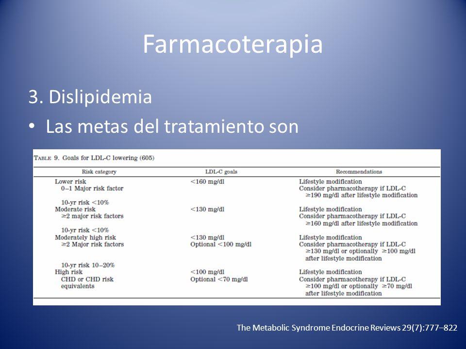 Farmacoterapia 3. Dislipidemia Las metas del tratamiento son