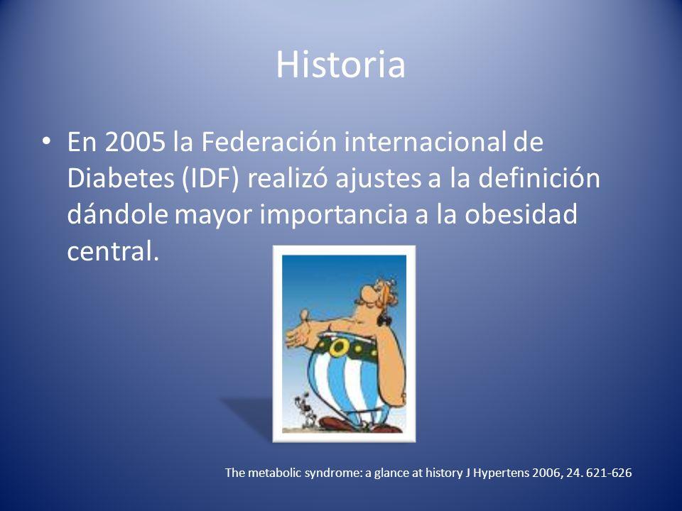 Historia En 2005 la Federación internacional de Diabetes (IDF) realizó ajustes a la definición dándole mayor importancia a la obesidad central.