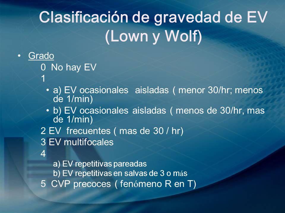 Clasificación de gravedad de EV (Lown y Wolf)