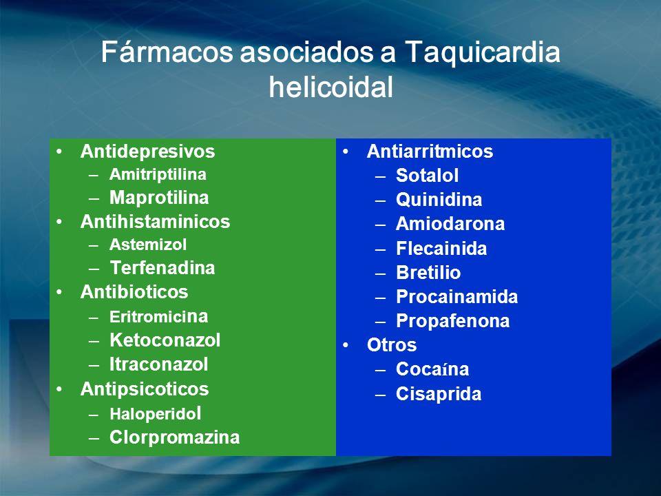 Fármacos asociados a Taquicardia helicoidal