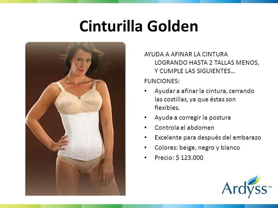 Cinturilla GoldenAYUDA A AFINAR LA CINTURA LOGRANDO HASTA 2 TALLAS MENOS, Y CUMPLE LAS SIGUIENTES… FUNCIONES: