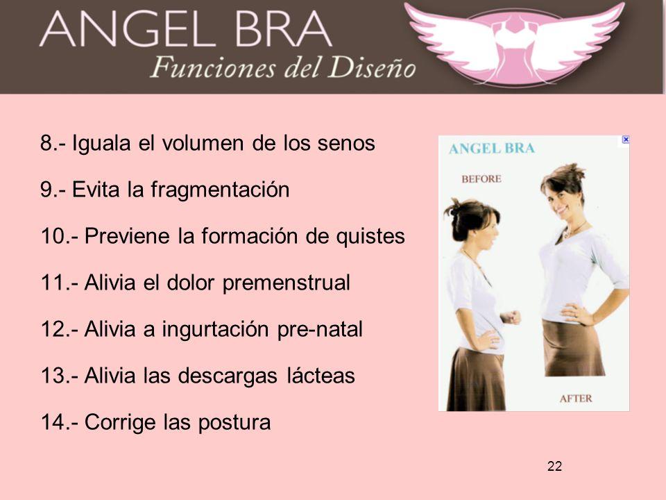 8. - Iguala el volumen de los senos 9. - Evita la fragmentación 10