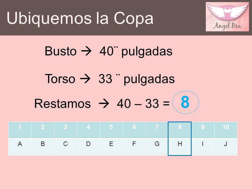 Ubiquemos la Copa Busto  40¨ pulgadas Torso  33 ¨ pulgadas