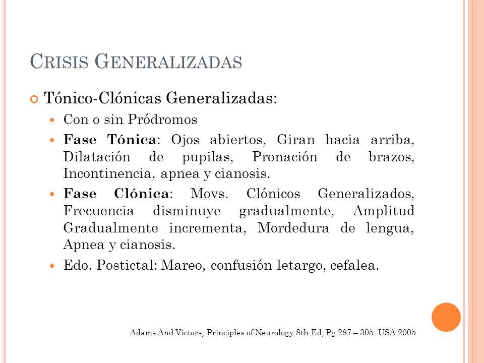 Crisis Generalizadas Tónico-Clónicas Generalizadas: