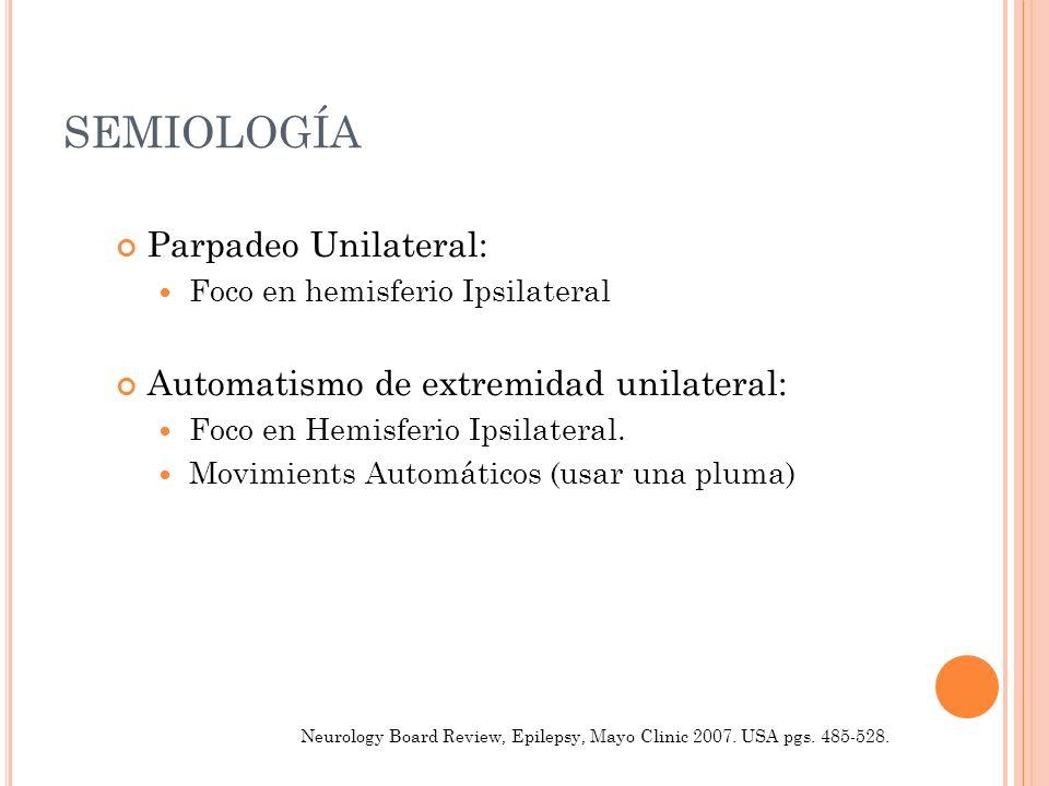 SEMIOLOGÍA Parpadeo Unilateral: Automatismo de extremidad unilateral: