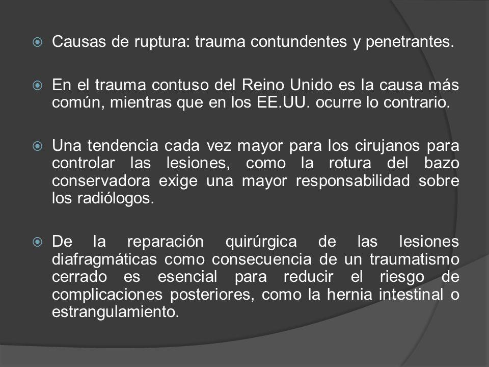 Causas de ruptura: trauma contundentes y penetrantes.