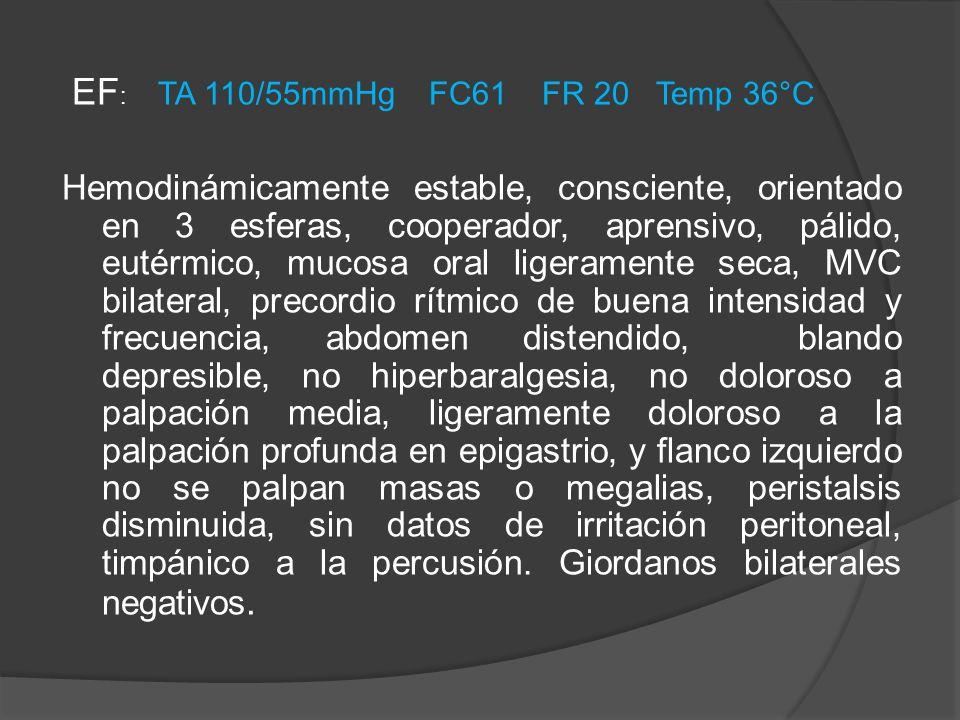 EF: TA 110/55mmHg FC61 FR 20 Temp 36°C
