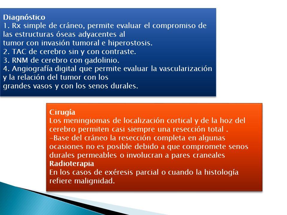 Diagnóstico 1. Rx simple de cráneo, permite evaluar el compromiso de las estructuras óseas adyacentes al.
