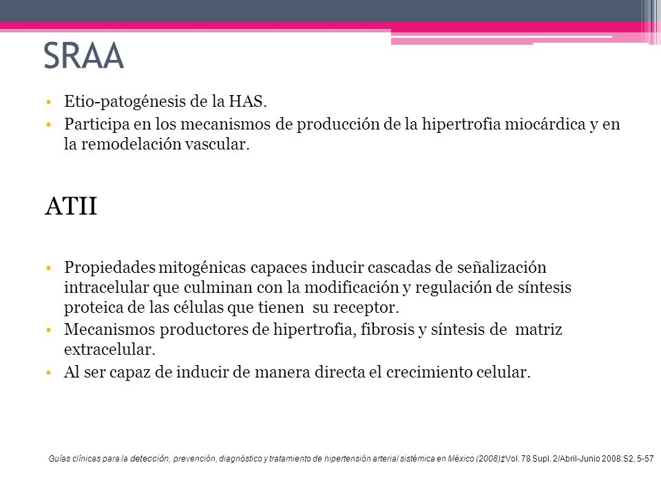 SRAA ATII Etio-patogénesis de la HAS.