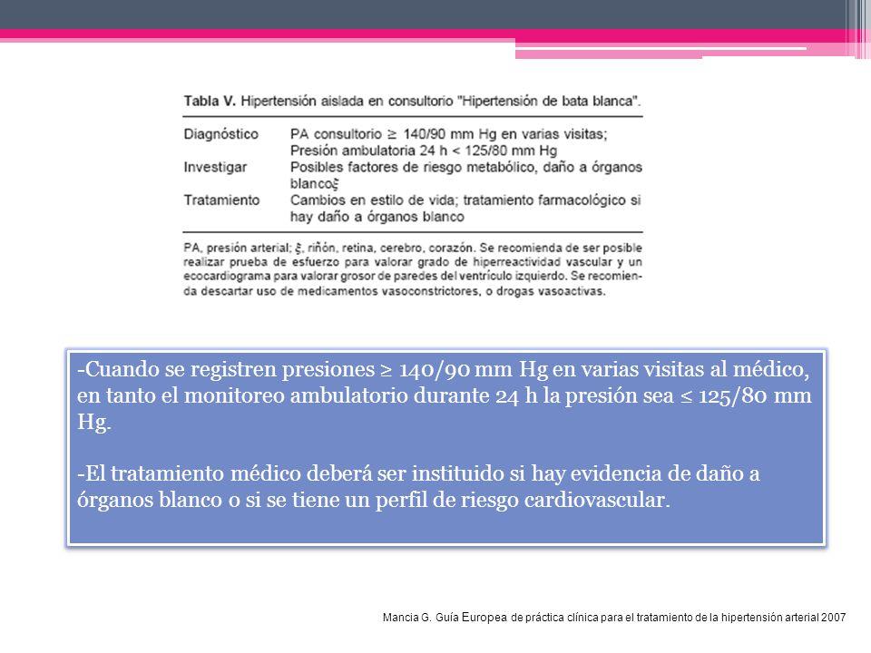 -Cuando se registren presiones ≥ 140/90 mm Hg en varias visitas al médico, en tanto el monitoreo ambulatorio durante 24 h la presión sea ≤ 125/80 mm Hg.